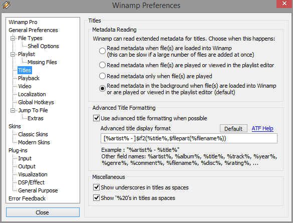 Use winamps advanced title formating rather than to many placeholders
